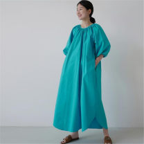 Dress Summer 2020 Fresh blue S M L XL longuette singleton  Long sleeves commute Crew neck Loose waist Solid color Socket A-line skirt bishop sleeve 25-29 years old Enchantment of imperial concubines Korean version Bow and ruffle pocket lace F72 More than 95% cotton Cotton 100%