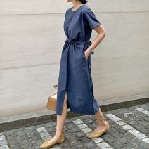 Dress Summer of 2019 Navy ginger S M L XL Mid length dress singleton  Short sleeve commute Crew neck Loose waist Solid color Socket A-line skirt routine 25-29 years old Enchantment of imperial concubines Korean version Bow pocket tie Y301 31% (inclusive) - 50% (inclusive) cotton Cotton 50% LINEN 50%