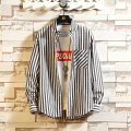shirt Youth fashion Mu Yun Jiayuan 165/M 170/L 175/XL 180/XXL 185/3XL Black sky blue dark blue routine Dress collar (wing collar) Long sleeves Self cultivation Other leisure spring youth tide 2019 Letters / numbers / characters Plaid Summer of 2019 No iron treatment kick pleat