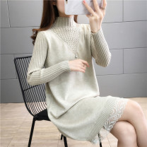 sweater Winter 2020 S M L XL Long sleeves Socket singleton  Medium length other 95% and above Half high collar thickening commute routine Solid color Straight cylinder Regular wool Keep warm and warm 25-29 years old Imongssan / yimengshang Stitching beads Other 100% Pure e-commerce (online only)