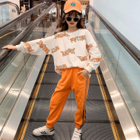 suit nainsect Orange letter Suit Blue Orange letter suit 120cm 130cm 140cm 150cm 160cm female spring and autumn Korean version Long sleeve + pants 2 pieces routine There are models in the real shooting Socket nothing other cotton children Expression of love CZ-21-0008 Class B Cotton 100% Spring 2021