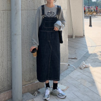 Dress Winter of 2019 Deep navy Average size Mid length dress commute straps 18-24 years old Other / other Korean version