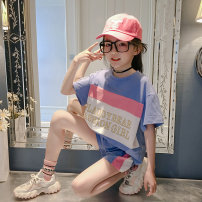 suit AI shangniu Blue pink 9569 orange 9569 green 8018 light blue 8018 Pink 110cm 120cm 130cm 140cm 150cm 160cm 165cm 170cm female summer Korean version Long sleeve + pants 2 pieces There are models in the real shooting Socket nothing XTZ9470 Class B Cotton 97% polyurethane elastic fiber (spandex) 3%