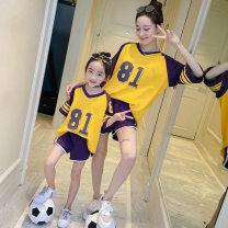 Parent child fashion Women's dress female AI shangniu summer Korean version routine suit cotton L M XL Cotton 100% Class B Summer of 2019 3 years old, 4 years old, 5 years old, 6 years old, 7 years old, 8 years old, 9 years old, 10 years old, 11 years old, 13 years old, 14 years old Chinese Mainland