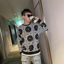 Sweater Youth fashion Tiger Wolf Black and white M L XL 2XL 3XL Geometric pattern Socket routine Crew neck spring easy leisure time youth tide routine A270 tiger wolf wy155xc Cotton polyester Cotton 95% polyurethane elastic fiber (spandex) 5% other printing No iron treatment Spring 2021 simple style