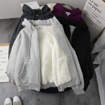 Sweater / sweater Winter 2020 Grey, black, dark grey M,L,XL,2XL,3XL Long sleeves routine Cardigan singleton  Plush Hood easy commute routine Solid color 18-24 years old Korean version cotton pocket cotton Cotton liner zipper