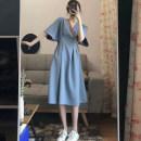 Women's large Summer 2020 Black, haze blue Dress singleton  commute easy moderate Socket Short sleeve Solid color Korean version V-neck Three dimensional cutting Bat sleeve Medium length