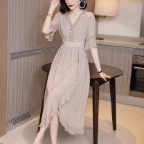 Dress Summer 2020 Tea apricot yellow black apricot Pink S M L XL XXL XXXL Mid length dress singleton  elbow sleeve commute V-neck High waist Solid color Socket Irregular skirt Lotus leaf sleeve Others 30-34 years old Type A Shu Zifei lady Asymmetric nail beads of Auricularia auricula with lotus leaf