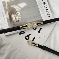 Belt / belt / chain Pu (artificial leather) black female belt Single loop Youth Pin buckle alloy Bamiwei Winter of 2019 yes