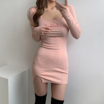 Dress Winter 2020 Blue, pink S,M,L Short skirt singleton  Long sleeves street square neck High waist letter One pace skirt routine 18-24 years old Type H Split WKVAD10017 71% (inclusive) - 80% (inclusive) cotton Europe and America
