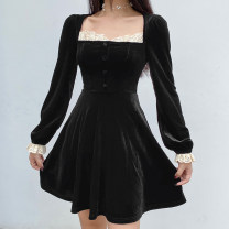 Dress Autumn 2020 Black, red S,M,L Short skirt singleton  Long sleeves street square neck High waist Solid color Socket A-line skirt puff sleeve Others 18-24 years old Type A Splicing WKD6462W0I More than 95% polyester fiber Europe and America