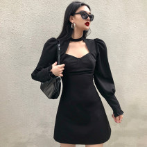 Dress Winter 2020 black S,M,L Short skirt singleton  Long sleeves street High waist Solid color zipper A-line skirt puff sleeve 18-24 years old Type A WKD7744W0I 51% (inclusive) - 70% (inclusive) polyester fiber Europe and America