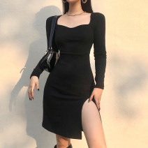 Dress Winter 2020 White, black S,M,L Short skirt singleton  Long sleeves street square neck High waist Solid color Socket One pace skirt routine 18-24 years old Type H Split WKD8791W0J 51% (inclusive) - 70% (inclusive) polyester fiber Europe and America
