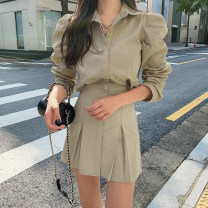 Dress Autumn 2020 Yellow, black S,M,L Short skirt singleton  Long sleeves street Polo collar High waist Solid color Single breasted A-line skirt routine 18-24 years old Type H WKD6877W0I More than 95% cotton Europe and America