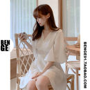 Dress Summer of 2019 White, black S,M,L,XL Short skirt singleton  Short sleeve commute V-neck High waist Solid color zipper A-line skirt pagoda sleeve 18-24 years old Type A Other / other Korean version Ruffles, zippers 2010#