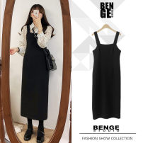 Dress Spring of 2019 black S,M,L,XL Mid length dress singleton  commute One word collar High waist Solid color zipper A-line skirt straps 18-24 years old Type A Other / other literature