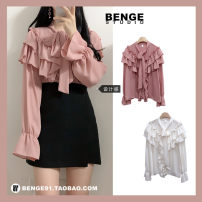 shirt White, pink S,M,L,XL Autumn of 2019 other 31% (inclusive) - 50% (inclusive) Long sleeves commute Regular V-neck Single row multi button Lotus leaf sleeve Solid color 18-24 years old Straight cylinder Other / other lady Bow, ruffle, lace, stitching, Auricularia auricula, strap, button