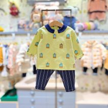 suit moimoln Li yellow green purchasing agent, Li yellow green (delivery within 48 hours) 80 for about 65cm, 90 for about 75cm, 100 for about 85CM, 110 for about 95cm, 120 for about 105cm neutral spring and autumn Korean version Long sleeve + pants 2 pieces routine No model Socket nothing other other