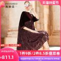 Dress Spring 2021 Dark red M L XL XXL Mid length dress singleton  elbow sleeve commute Crew neck Loose waist Decor Socket Big swing other Others 35-39 years old Tao Yan said More than 95% polyester fiber Polyester 100% Pure e-commerce (online only)