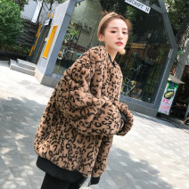 leather and fur Autumn 2020 Whispering Khaki leopard, warm yellow Leopard S,M,L Medium length Long sleeves street stand collar routine zipper Imitation fur YS1808 25-29 years old thread Europe and America