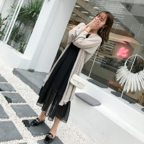 Women's large Spring of 2019 Priority for stock / suit / collection XL 2XL 3XL 4XL L Dress Two piece set commute easy moderate Socket Long sleeves Solid color Korean version other Medium length Polyester others Three dimensional cutting other Z91ML18168 Christine 25-29 years old fungus Medium length