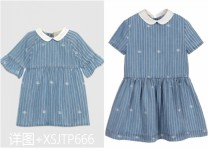 Dress Lace sleeves for baby children, medium and large children's short sleeves female Other / other 73cm,80cm,90cm,100cm,110cm,120cm,130cm,140cm,150cm,S,M,L Cotton 100% leisure time stripe cotton other