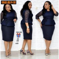 Women's large Dress singleton  commute Self cultivation moderate Socket Long sleeves Solid color Ol style Crew neck Medium length Collage routine Other / other Lace stitching Middle-skirt Pencil skirt Hollowing out zipper