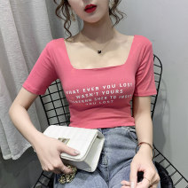 T-shirt Yellow white rose red orange black S M L XL 2XL Summer 2020 Short sleeve square neck Self cultivation Regular routine commute other 96% and above Korean version youth Letter solid color Lovely beauty 153613153ionjhbv Other 100%