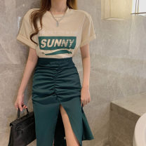 Lace / Chiffon Spring 2021 Apricot t 7652 white t7652 green skirt 7653 blue skirt 7653 S M L Short sleeve commute Socket singleton  Straight cylinder Regular Crew neck other routine 18-24 years old Lovely beauty Korean version 30% and below Other 100%