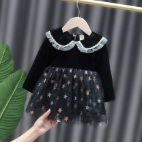 Dress female Other / other Other 100% spring and autumn princess Long sleeves Solid color Cotton blended fabric Splicing style 12 months, 6 months, 9 months, 18 months, 2 years, 3 years, 4 years