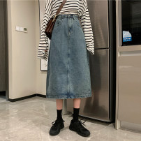 skirt Spring 2021 S M L XL Retro Blue Dark Blue Black Mid length dress commute High waist A-line skirt Solid color Type A 18-24 years old jt2398 More than 95% Emperor rhyme polyester fiber Pocket button Korean version Polyester 100% Exclusive payment of tmall