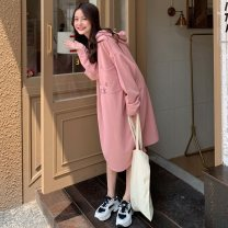 Dress Autumn 2020 Pink white gray black M L Mid length dress singleton  Long sleeves commute Hood Loose waist letter A-line skirt routine Others 18-24 years old Type A Emperor rhyme Korean version pocket zq1885 71% (inclusive) - 80% (inclusive) polyester fiber Polyester 75% cotton 25%