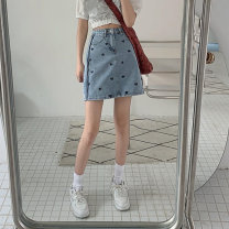 skirt Summer 2021 S M L XL blue Short skirt commute High waist A-line skirt other Type A 18-24 years old jt3018 More than 95% Emperor rhyme polyester fiber Embroidered pocket Korean version Polyester 100% Pure e-commerce (online only)