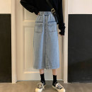 skirt Autumn 2020 S M L XL wathet Mid length dress commute High waist Denim skirt Solid color Type A 18-24 years old jt1017 More than 95% Denim Emperor rhyme other pocket Korean version Other 100% Pure e-commerce (online only)