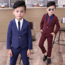 Suit / Blazer Navy, Burgundy, Navy (jacket pants + B12 white shirt), Burgundy (jacket pants + B12 blue shirt) 7(100cm),9(110cm),11(120cm),13(130cm),15(140cm),17(145cm) Other / other male There are models in the real shooting Korean version spring and autumn Solid color A button routine Class B