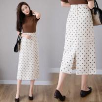 skirt Spring 2011 S,M,L,XL Apricot, black longuette Versatile High waist High waist skirt Dot Type A 18-24 years old KBPNZ7201 # 01 81% (inclusive) - 90% (inclusive) other polyester fiber