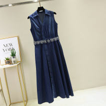 Dress Summer of 2019 Picture color M L XL XXL longuette singleton  Sleeveless street V-neck middle-waisted Single breasted other routine Others 25-29 years old Type X Kou Zhu Pocket lace up for old buttons kouzhu1153 More than 95% other Lyocell 100% Exclusive payment of tmall Europe and America