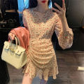 Dress Spring 2020 Picture color S,M,L,XL Mid length dress singleton  Long sleeves Sweet V-neck High waist Broken flowers Socket Irregular skirt 18-24 years old Type H 31% (inclusive) - 50% (inclusive) Chiffon college
