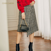 skirt Winter of 2019 XS S M L XL XXL Black and white 923 Mid length dress commute High waist Irregular houndstooth  Type A 25-29 years old CZA4077110 31% (inclusive) - 50% (inclusive) Coven Garden polyester fiber Bright silk asymmetrical thousand bird grid Simplicity