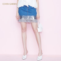 skirt Spring 2021 XS S M L XL Denim 610 Short skirt commute High waist A-line skirt Solid color Type A 25-29 years old CNA1075180 71% (inclusive) - 80% (inclusive) Coven Garden cotton Tassel bright silk pocket button stitching Simplicity Same model in shopping mall (sold online and offline)