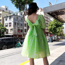 Dress Summer 2021 green S,M,L Middle-skirt singleton  Short sleeve Sweet square neck High waist Dot Socket Big swing puff sleeve Others 18-24 years old Type A bow other