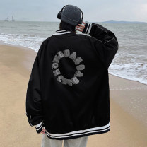 short coat Spring 2021 M L XL 2XL 3XL 4XL 5XL Black army green blue Long sleeves routine routine singleton  easy Versatile raglan sleeve Half open collar zipper letter 18-24 years old Teng Yiman 96% and above Button printing polyester fiber Polyester 100% Pure e-commerce (online only)