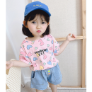 T-shirt Pink love, green love, white love Other / other 80cm,90cm,100cm,110cm,120cm,130cm female summer Short sleeve Crew neck leisure time There are models in the real shooting nothing cotton other Cotton 100% Class B Sweat absorption Chinese Mainland Guangdong Province Foshan City