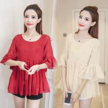 Lace / Chiffon Summer of 2019 Red apricot S M L XL 2XL 3XL elbow sleeve commute Socket singleton  easy have cash less than that is registered in the accounts Crew neck Solid color pagoda sleeve 30-34 years old The charm of benevolence Article No. 63692409897 Three dimensional decoration
