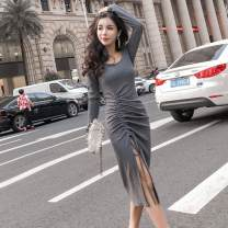 Dress Autumn of 2018 Black grey Average size longuette singleton  Long sleeves commute Crew neck High waist Solid color Socket Irregular skirt routine Others 18-24 years old The charm of benevolence Korean version Asymmetry Article No. 63692792123 More than 95% knitting cotton Cotton 100%