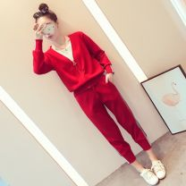 Women's large Autumn of 2018 Black suit red suit trousers Two piece set commute Self cultivation moderate Cardigan Long sleeves Animal design Simplicity V-neck routine polyester fiber Paint splashing routine 25-29 years old Bright silk 51% (inclusive) - 70% (inclusive) Short skirt Other 100.0% rivet