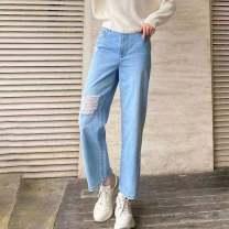Jeans Spring 2021 wathet XS,S,M,L,XL trousers High waist Straight pants routine Wear, wash, button Cotton denim light colour O'amash banner 96% and above