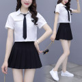 Dress Summer 2021 white S M L XL XXL Short skirt Two piece set Short sleeve commute Crew neck middle-waisted Solid color A-line skirt routine Others 25-29 years old Lai Xun Pavilion Korean version Three dimensional decorative button LXG1535 More than 95% other Other 100% Pure e-commerce (online only)