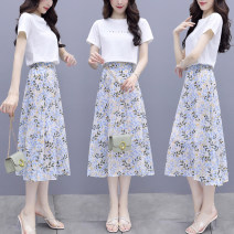 Dress Summer 2021 Blue green S M L XL XXL Mid length dress Two piece set Short sleeve commute Crew neck middle-waisted Broken flowers Socket A-line skirt routine Others 25-29 years old Type A Lai Xun Pavilion Korean version printing LXG1280 More than 95% other Other 100% Pure e-commerce (online only)