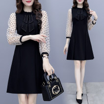 Dress Autumn 2020 black S M L XL XXL Mid length dress singleton  Long sleeves commute Crew neck middle-waisted Dot Socket A-line skirt routine Others 25-29 years old Type A Lai Xun Pavilion Korean version Stitching zipper LXG8862 More than 95% other other Other 100% Pure e-commerce (online only)